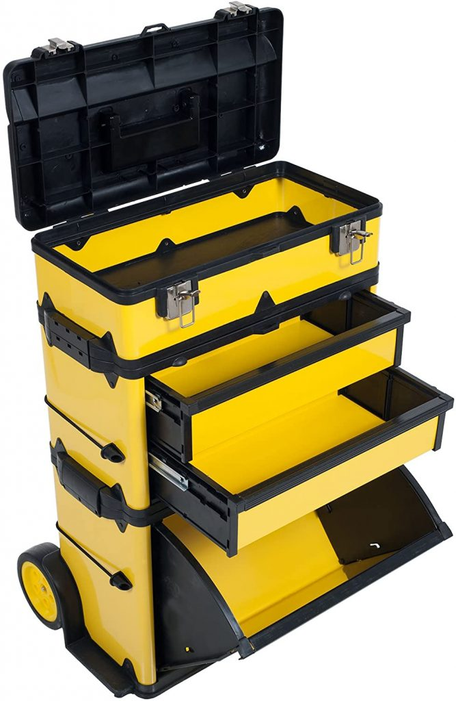 Stackable Toolbox Rolling Mobile Organizer with Telescopic Comfort Grip Handle