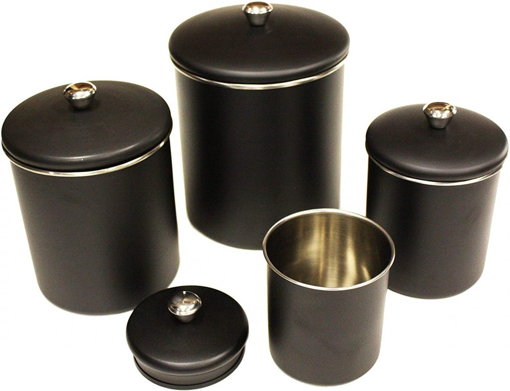 ZUCCOR 4 Piece Premium Stainless Steel Matte Black Kitchen Canister