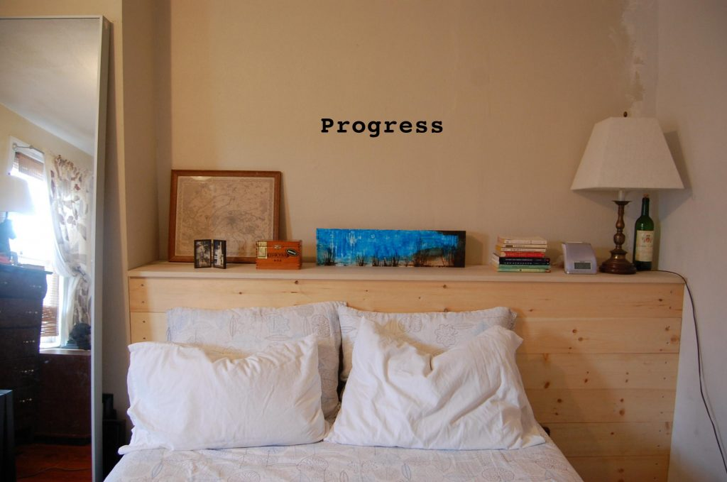 DIY headboard wall shelf