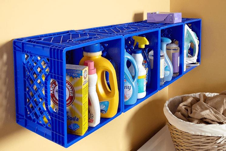 DIY plastic crate shelves