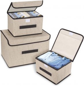Fabric Storage Bins With Flip-Top Lids
