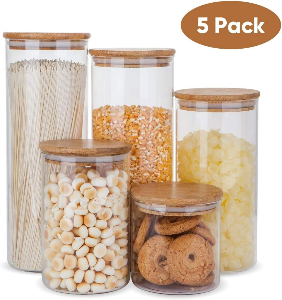 Glass Storage Containers with Wooden Lids by Flrolove
