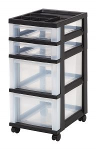 IRIS USA 4-Drawer Storage Cart With Organizer Top