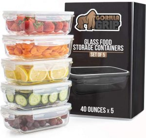 Premium Glass Food Storage Canister With Lid (5 Pack)