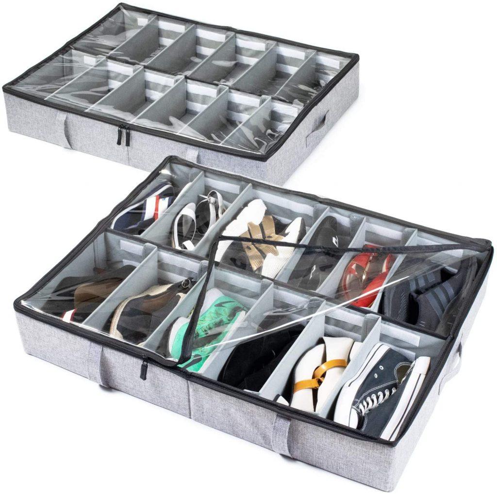 Under Bed Shoe Storage Organizer with adjustable dividers by storageLAB