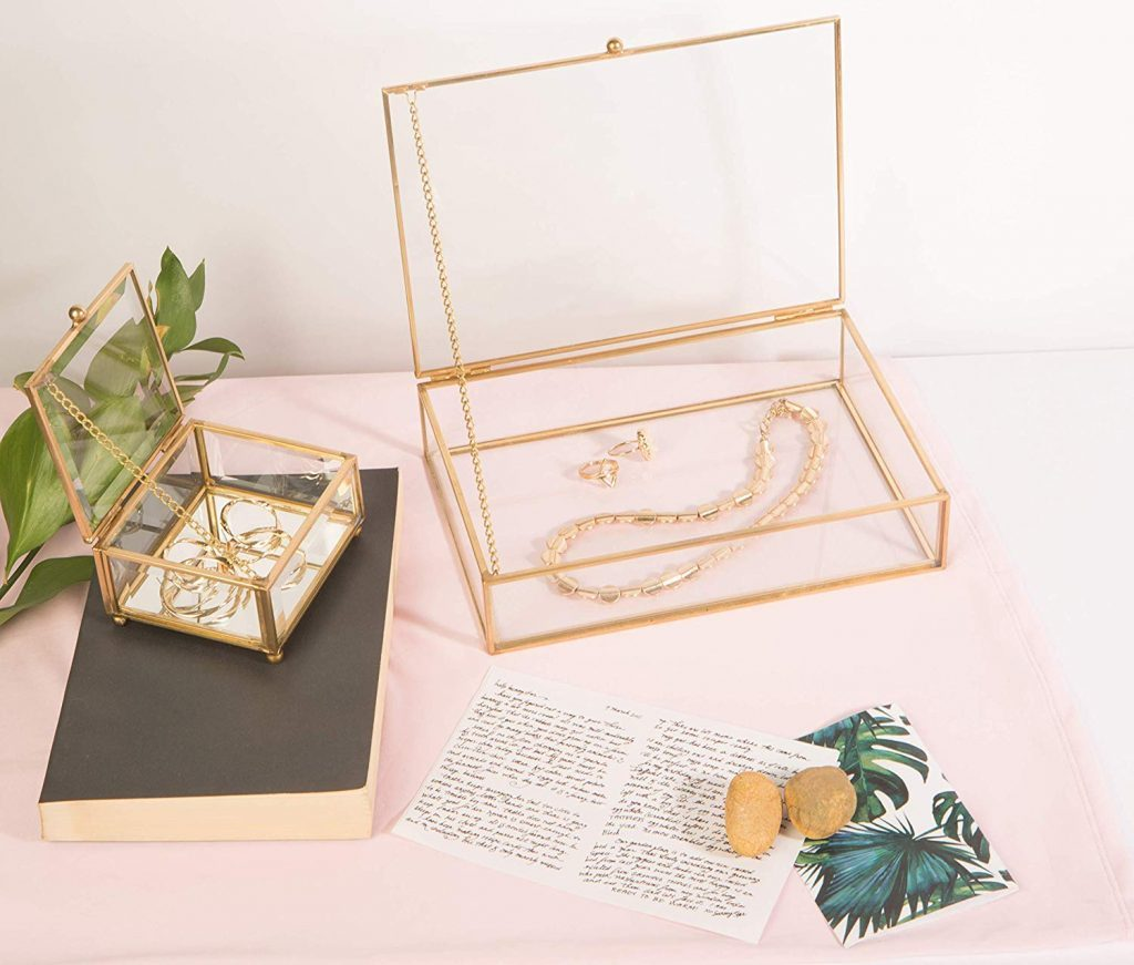 Vintage Mirrored Bottom Glass Box by Home Details