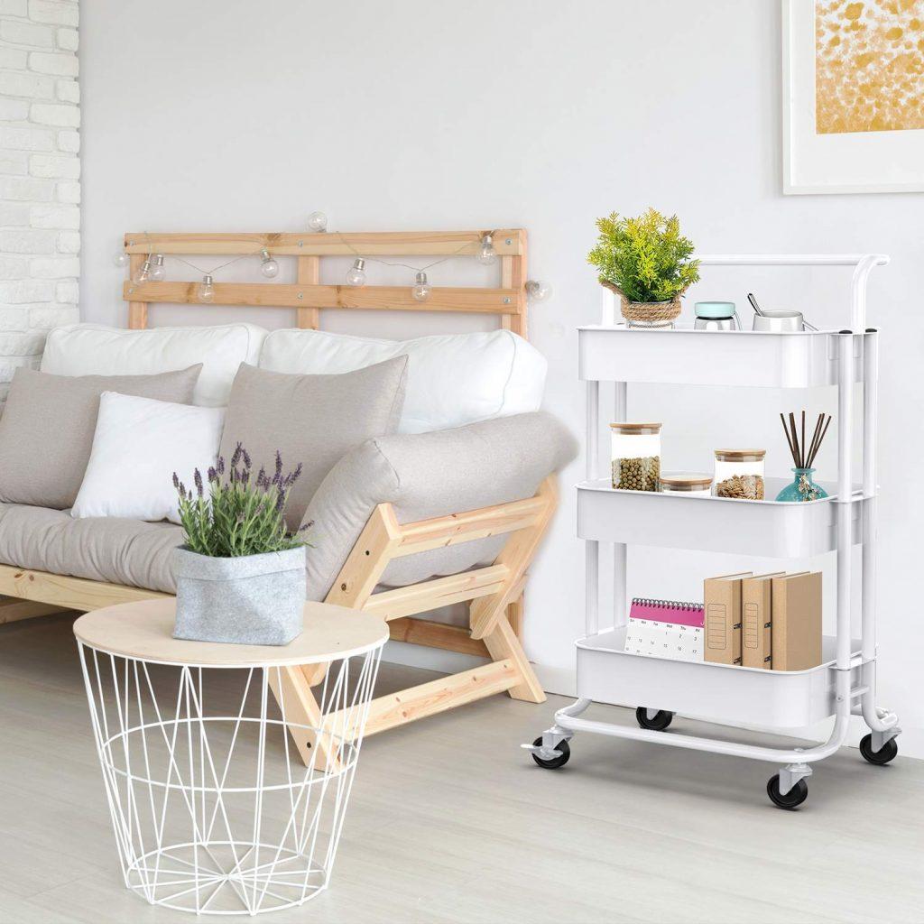 Living Room Rolling Cart, Living Room Storage Organizer, Living Room Organizer