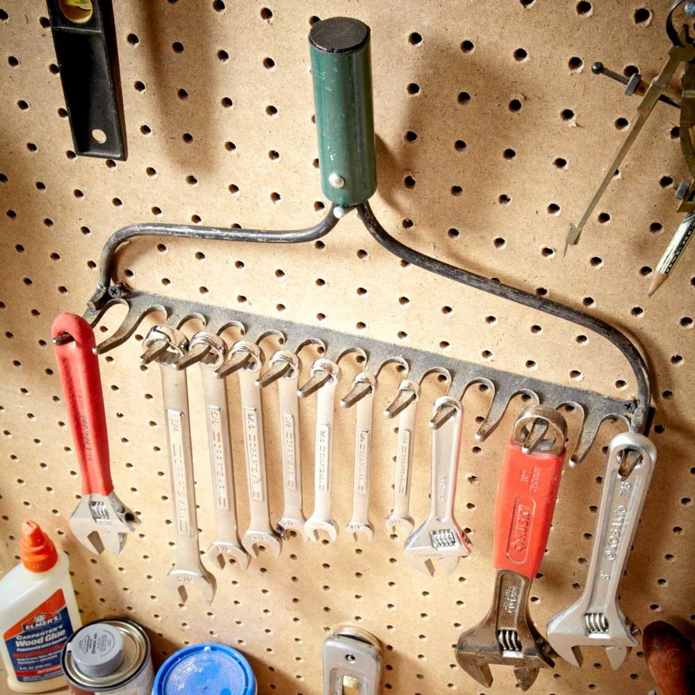 rake rack, upcycled rake, wrench rack, garage storage ideas