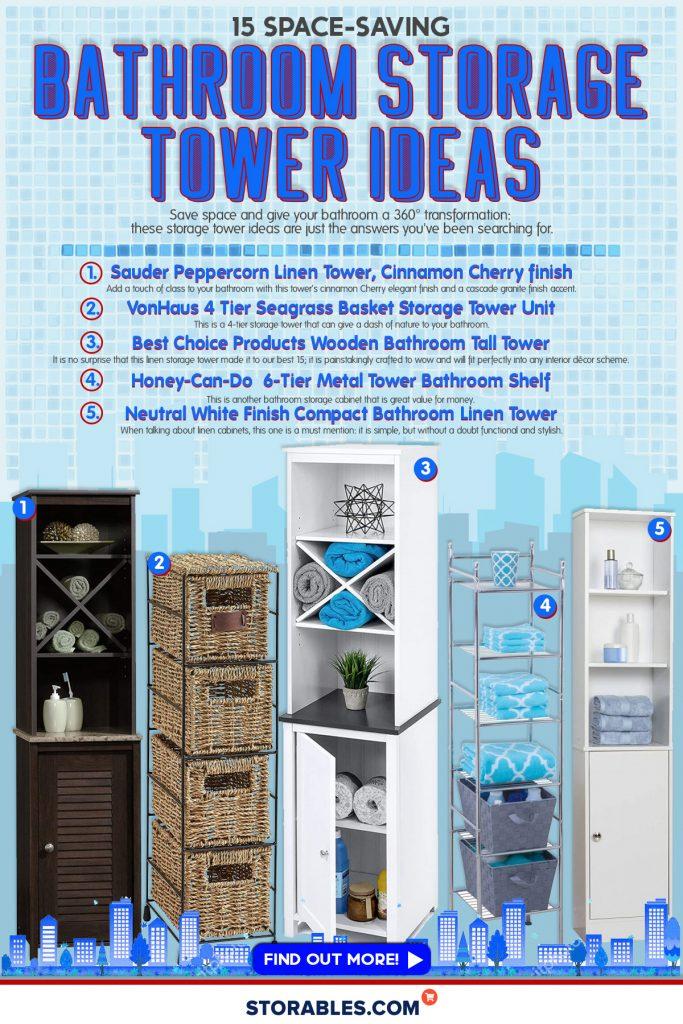 15 Space-Saving Bathroom Storage Tower Ideas - INFOGRAPHICS
