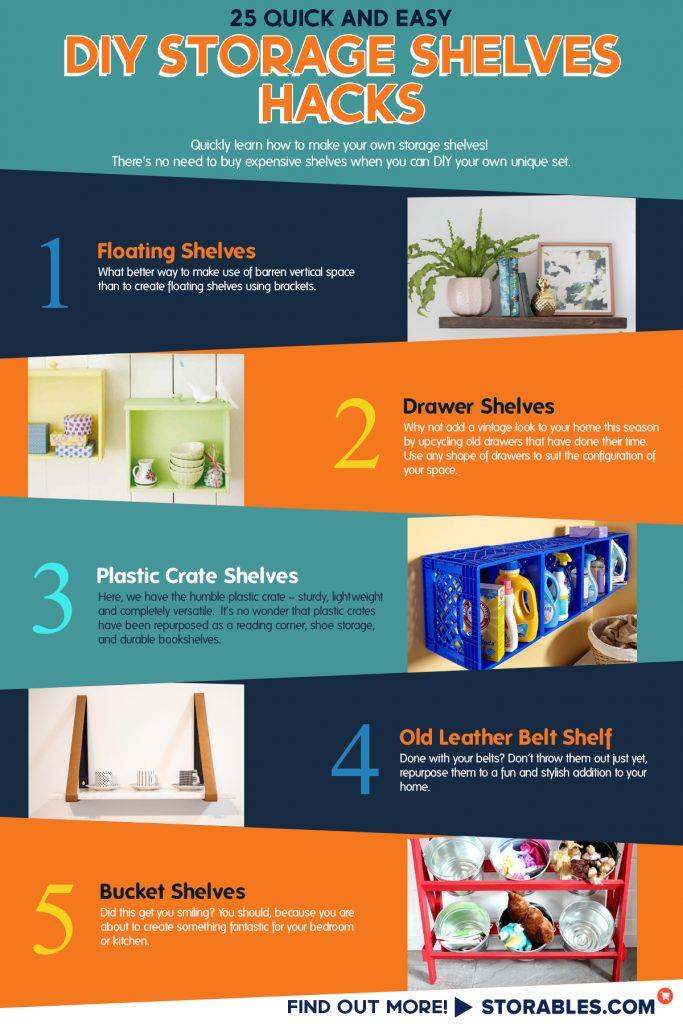 25 Quick And Easy DIY Storage Shelves Hacks - INFOGRAPHICS