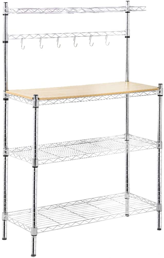 Metal Baker's Rack Organizer Stand Shelf Kitchen Microwave Cart