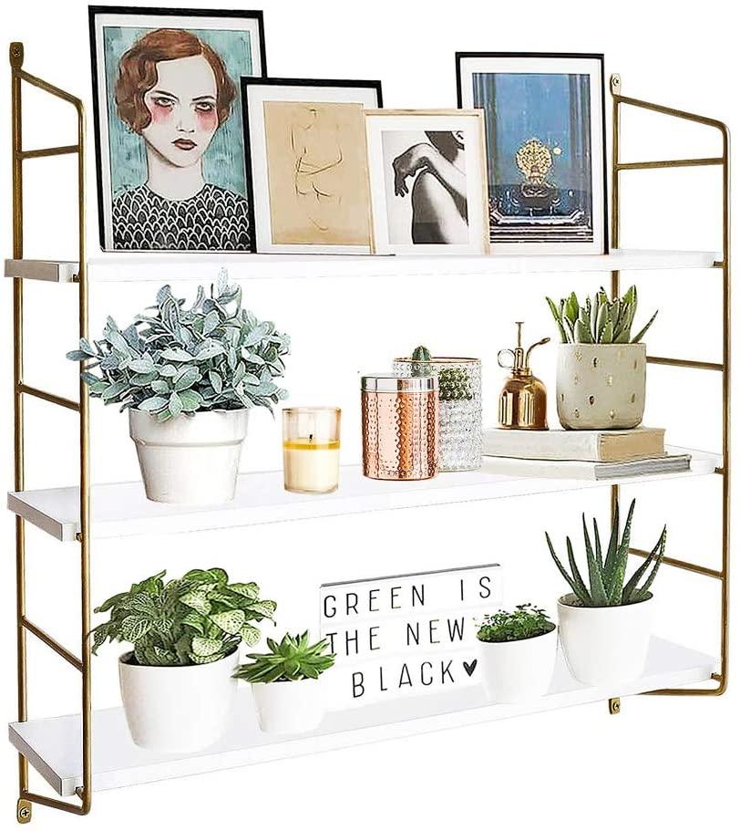 BOLUO Gold Wall Shelf Modern White Floating Shelves