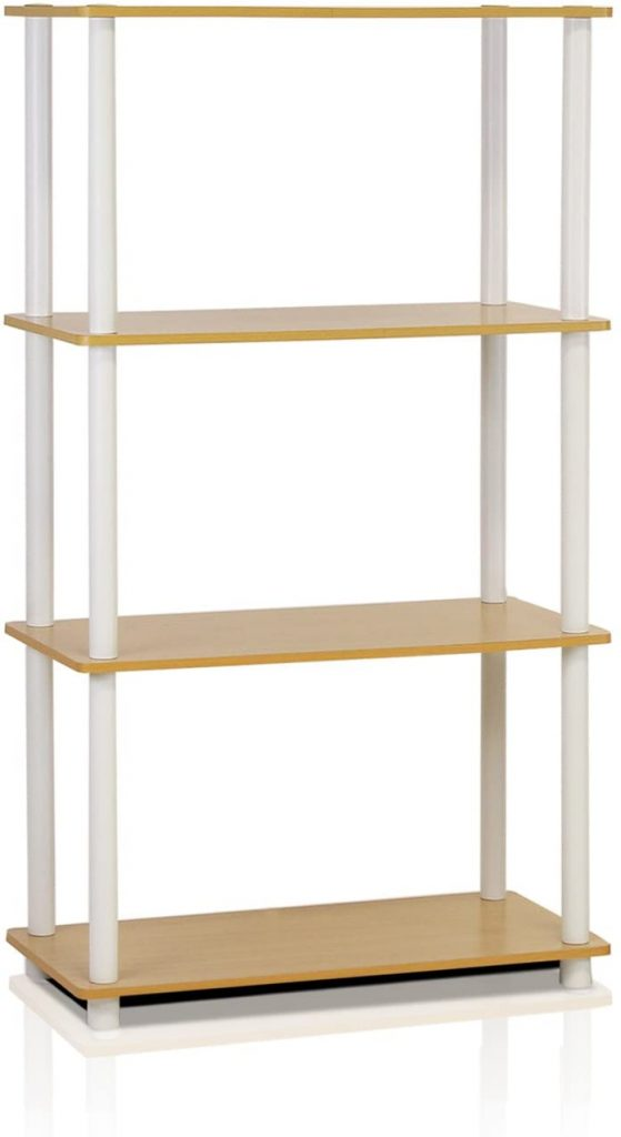 Furinno (99557BE/WH) Turn-N-Tube 4-Tier Multipurpose Shelf