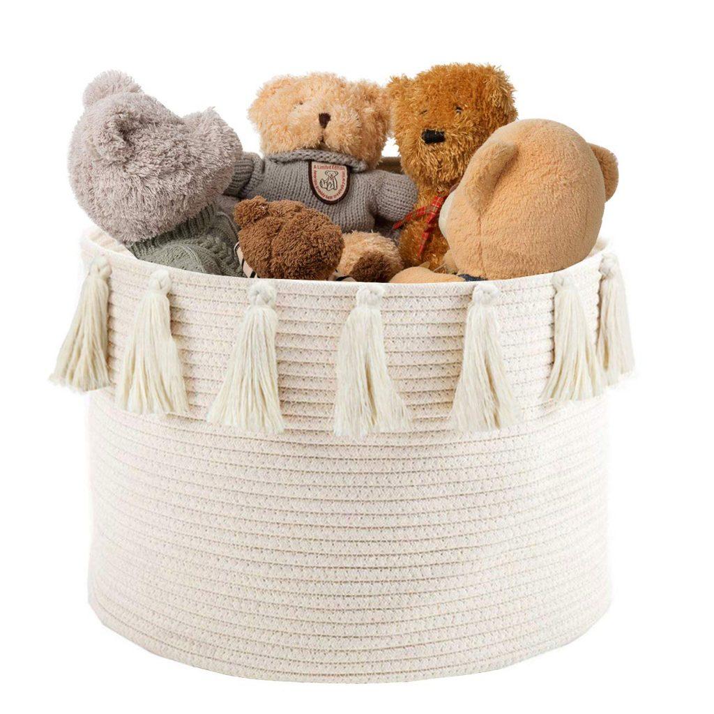 Abetree Large Tassel Woven Basket