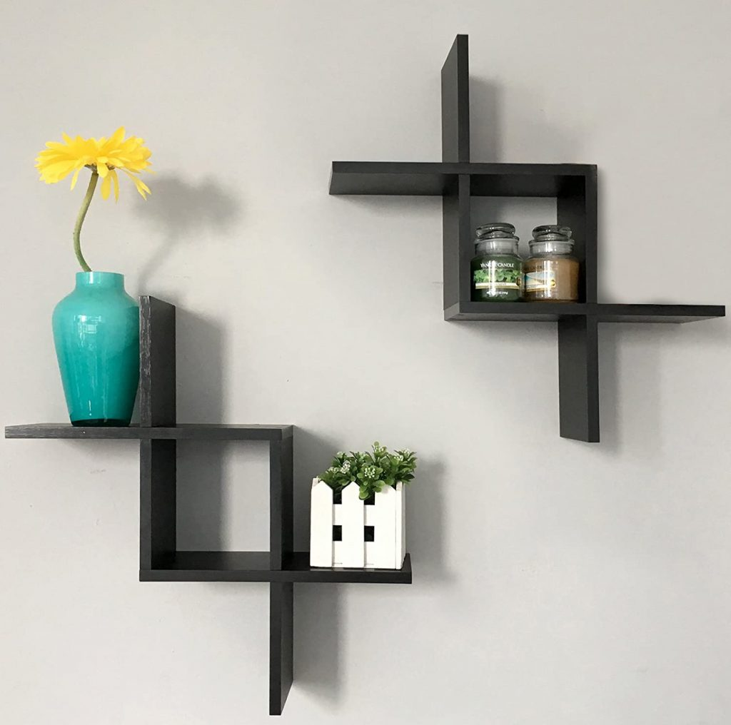 Greenco Criss Cross Intersecting Wall Mounted Floating Shelves