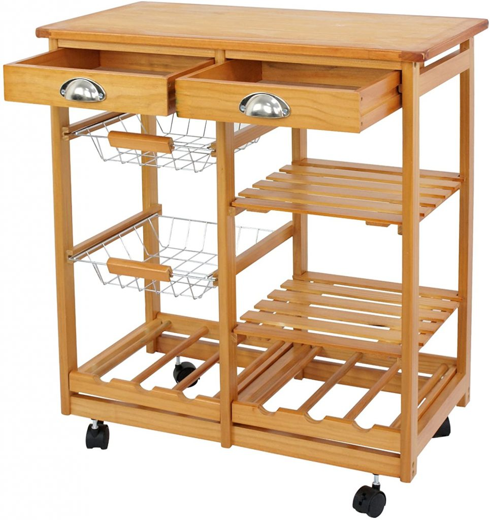 Nova Microdermabrasion Rolling Wood Kitchen Island