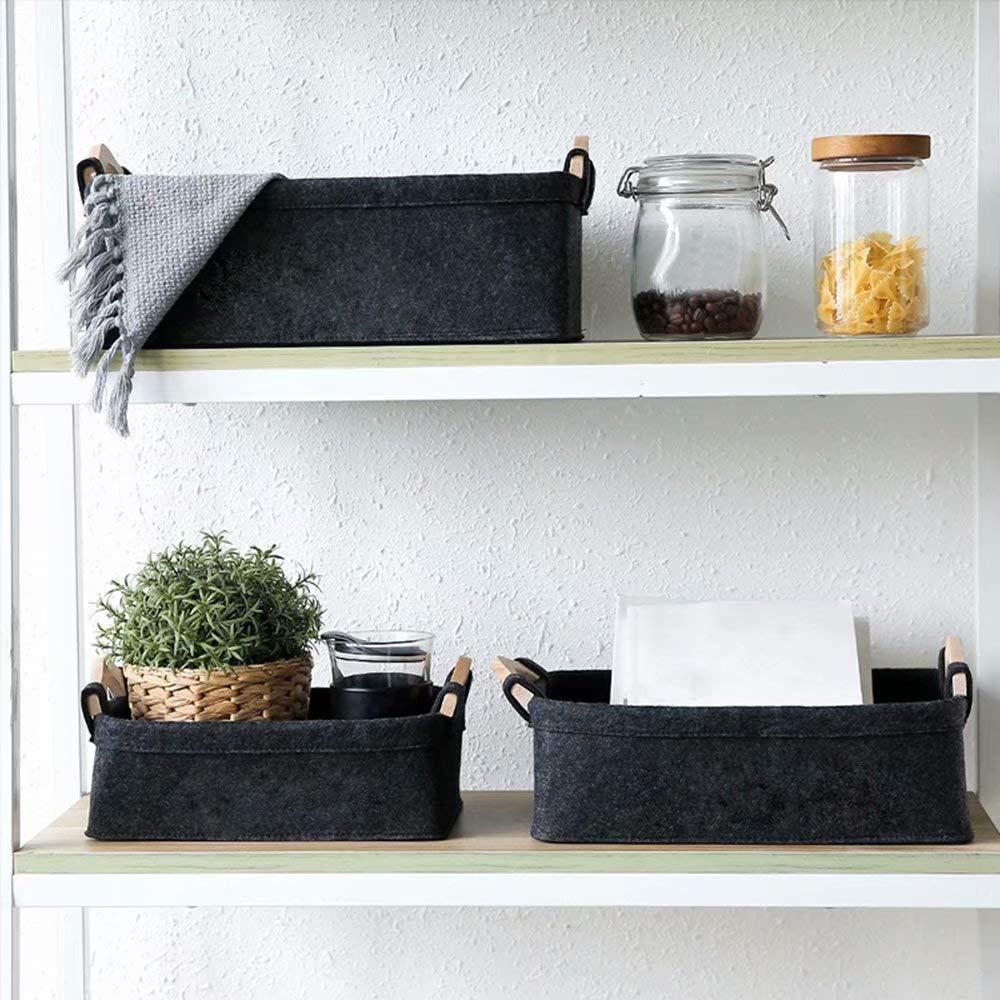 KWLET Small Basket Gray Storage Baskets for Shelves