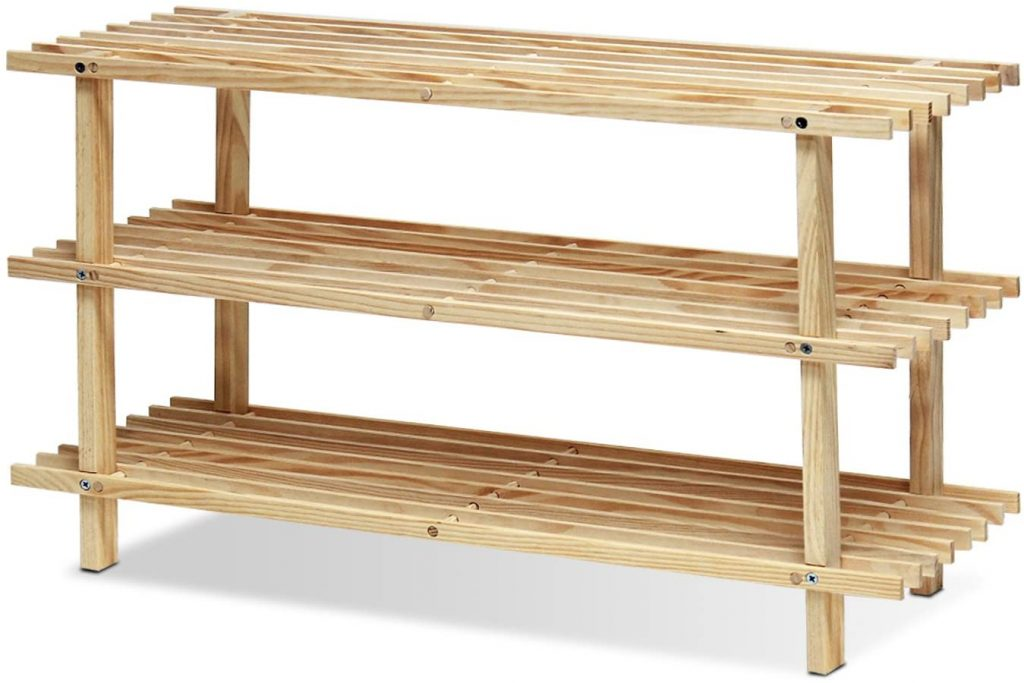 Furinno Pine Solid Wood 3-Tier Shoe Rack