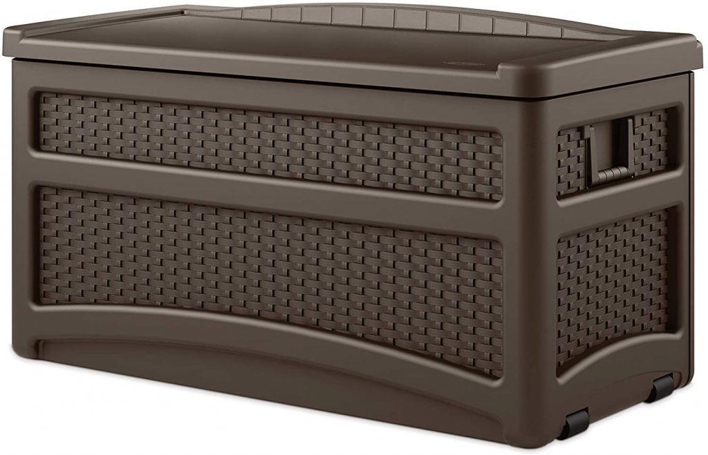 Suncast 73 Gallon Resin Wicker Patio Storage Box