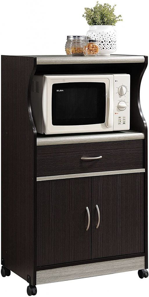 Hodedah Microwave Cart with One Drawer, Two Doors, and Shelffor Storage, Chocolate