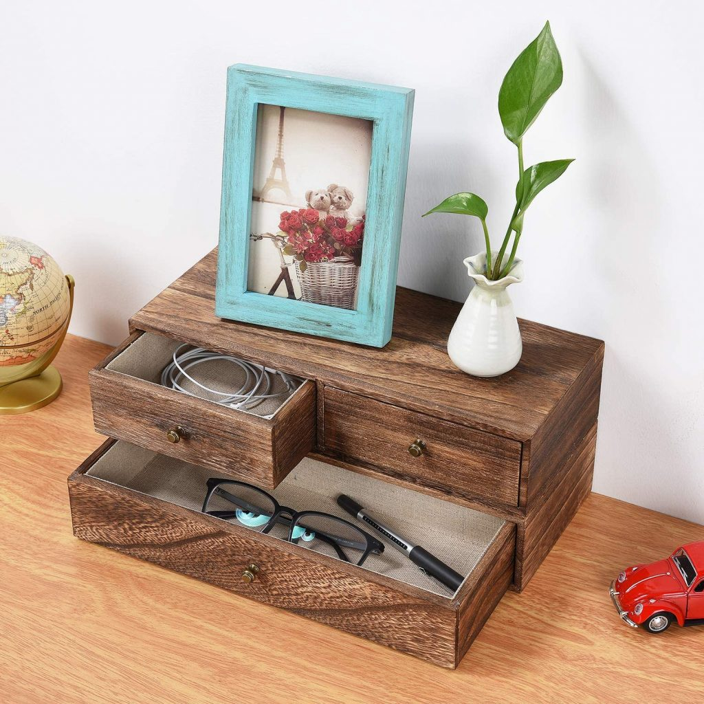 Emfogo Floating Shelf with Drawer Rustic Wood Wall Shelves