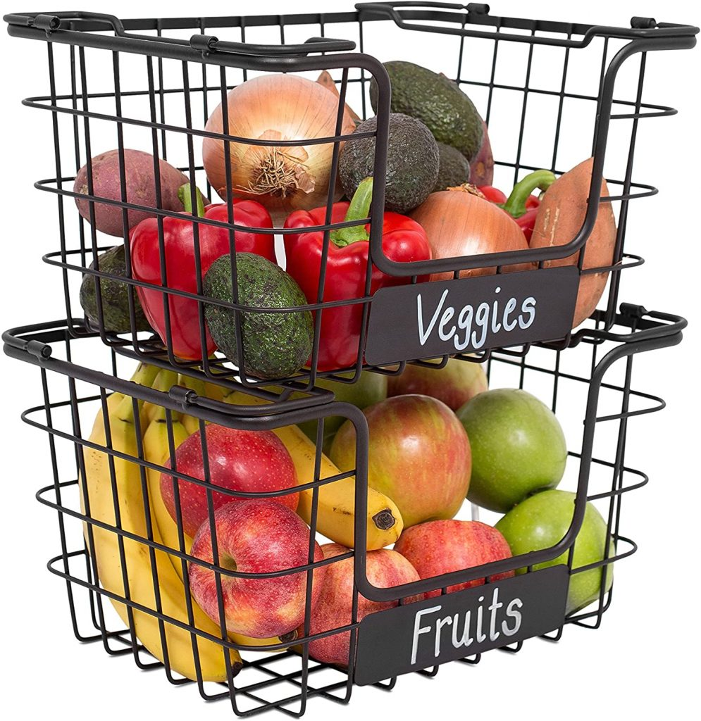 BIRDROCK HOME Stacking Wire Market Baskets with Chalk Label