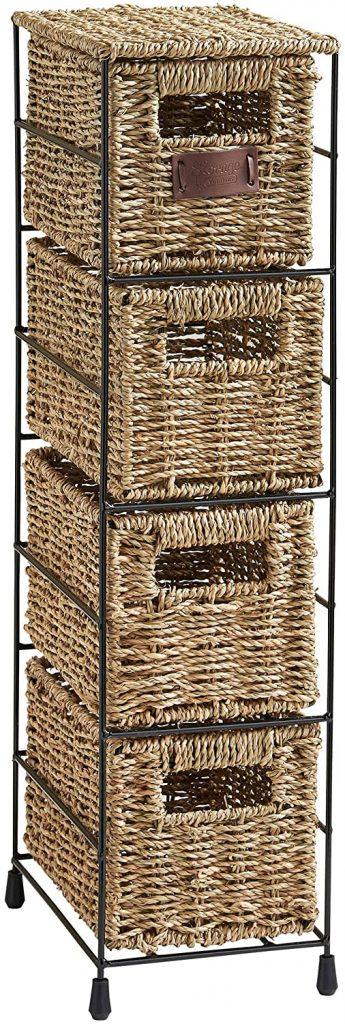 VonHaus 4 Tier Seagrass Basket Storage Tower Unit