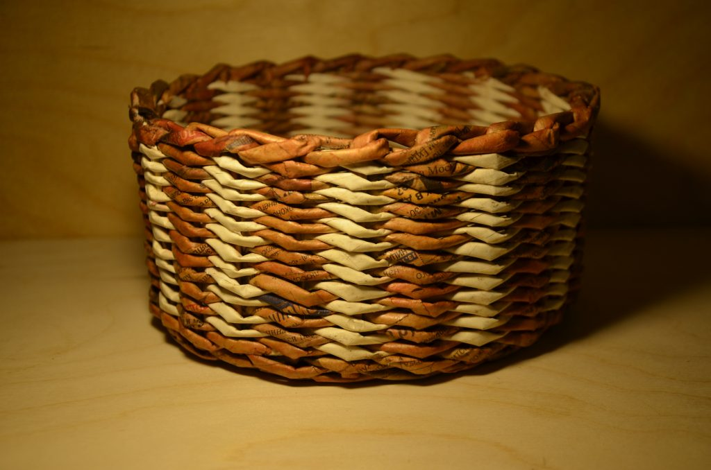 3. Woven Baskets For Storage On Shelves Using Newspaper