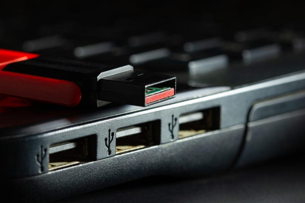 Flash drive in USB port