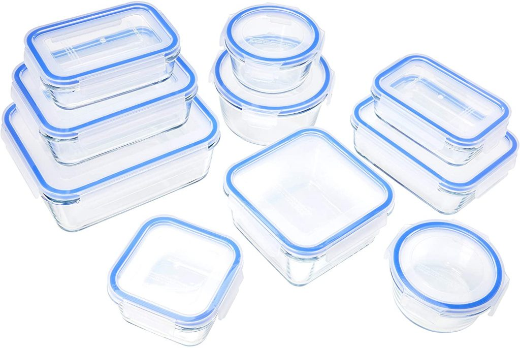 AmazonBasics Glass Locking Lids Food Storage Containers