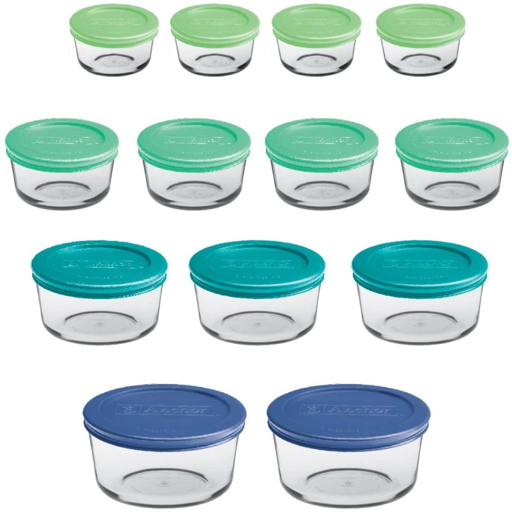 Anchor Hocking Round Food Storage Containers with Plastic Lids