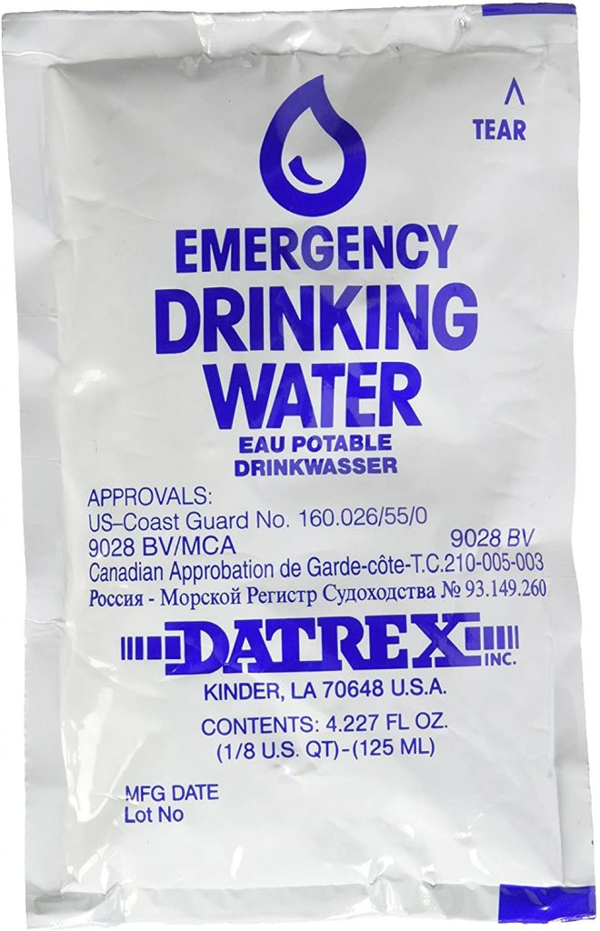 DATREX Emergency Water Pouch for Disaster or Survival