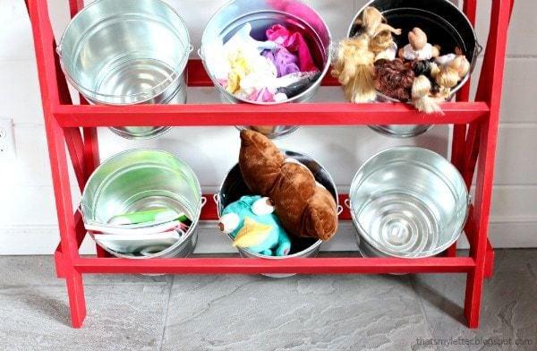 DIY bucket shelves