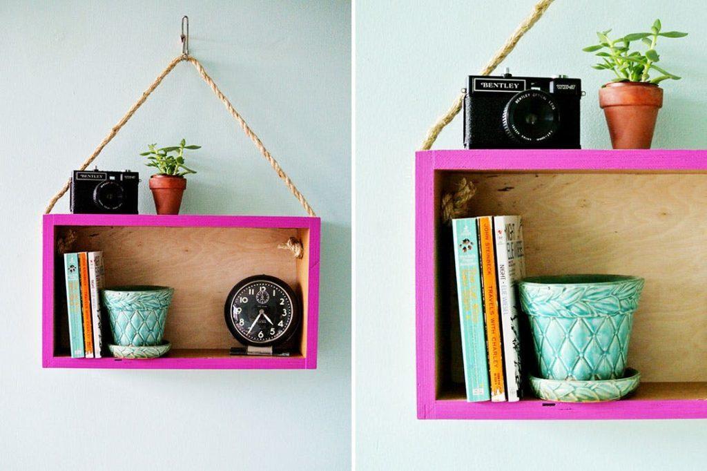 DIY hanging box shelves