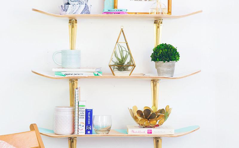 DIY skateboard shelves
