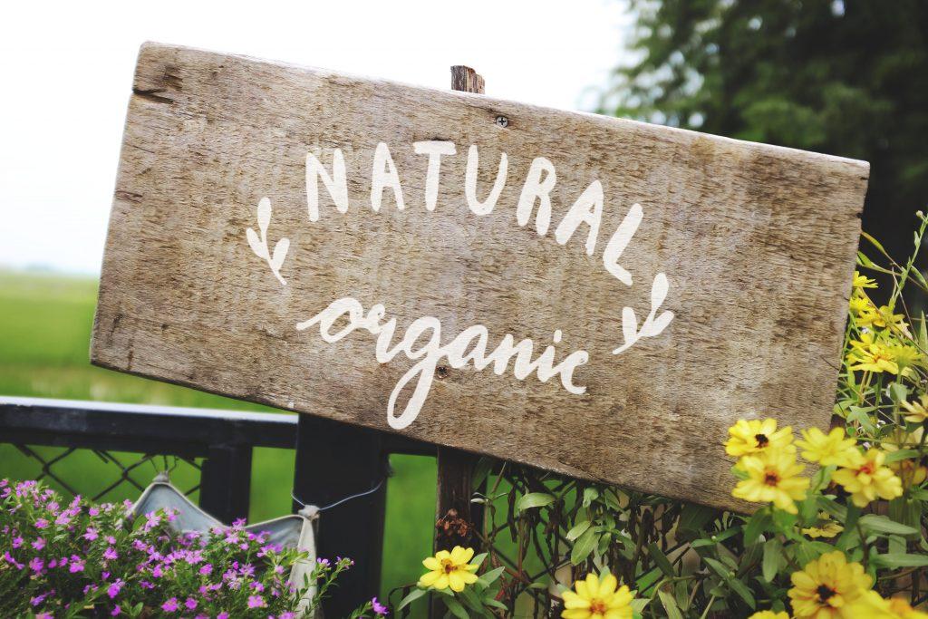 Natural organic wooden sign board mockup