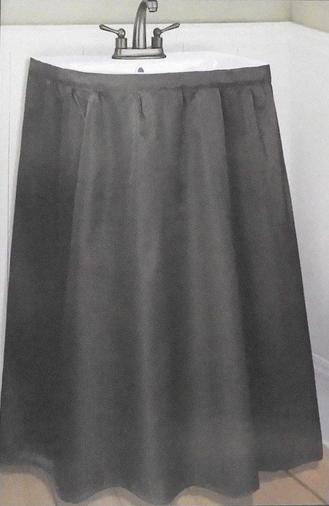Home & Style Fabric Sink Skirt Mosaic Stitch Black