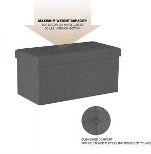 Lavish Home Large Folding Storage Bench Ottoman