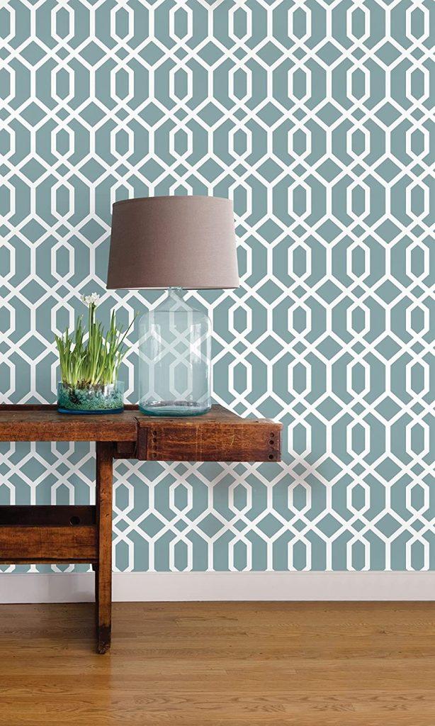 NuWallpaper NU1691 Montauk Lattice Hemlock Blue Peel & Stick Wallpaper