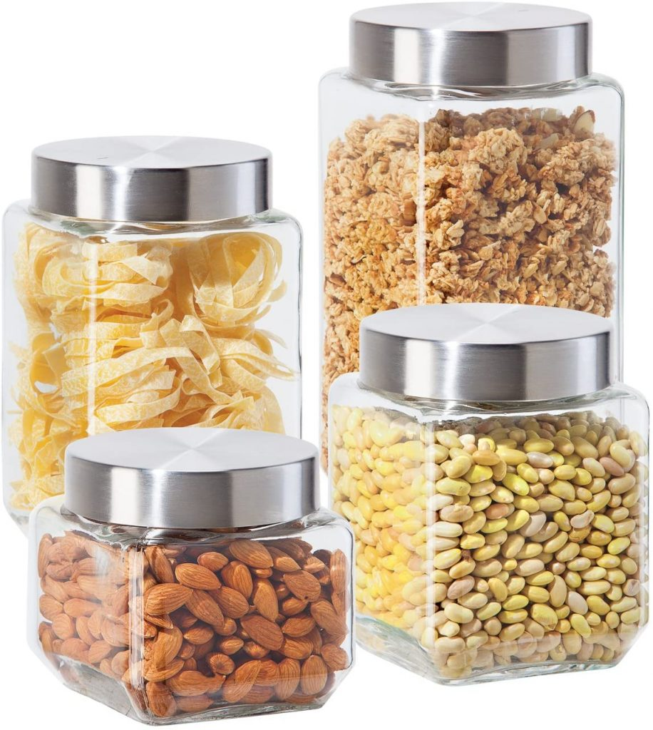 Oggi 4 Piece Glass Canister Set with Screw-on Lids
