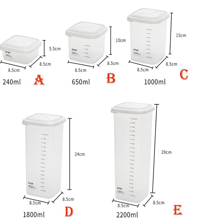 Plastic Space Saving Square Food Storage Container with Scale