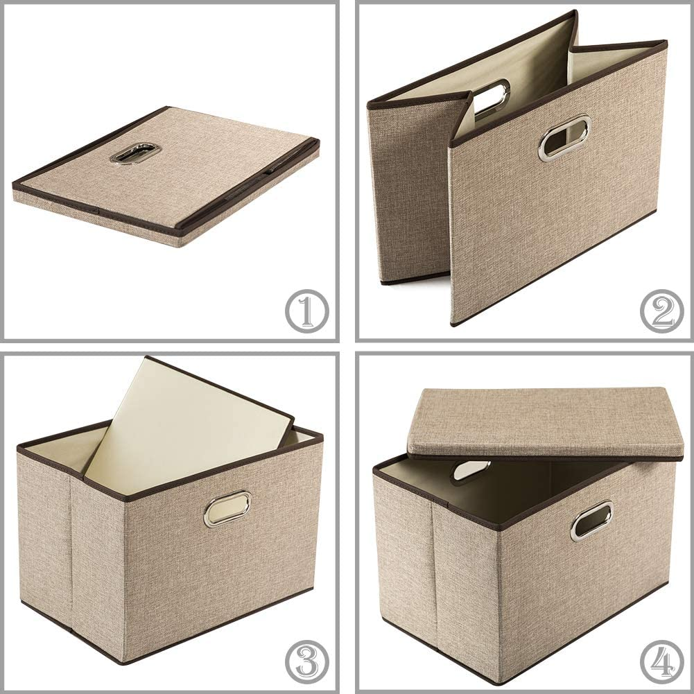 Prandom Large Foldable Storage Boxes with Lids [3-Pack]