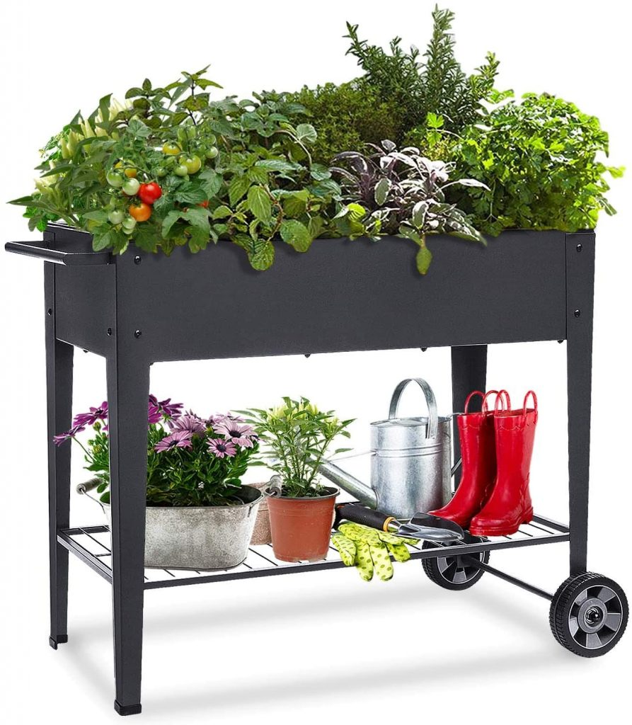 Raised Planter Box - Outdoor Elevated Garden Bed on Wheels