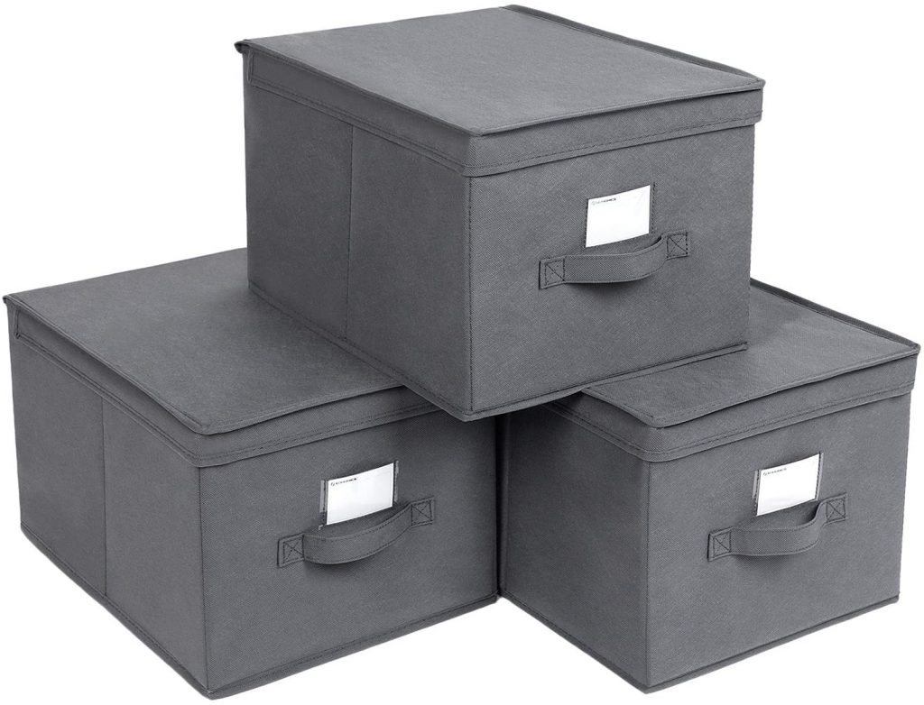 SONGMICS Set of 3 Foldable Storage Boxes with Lids
