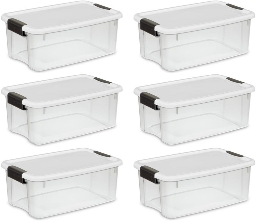 STERILITE 19849806 18 Quart Liter Ultra Latch Box Clear with a White Lid