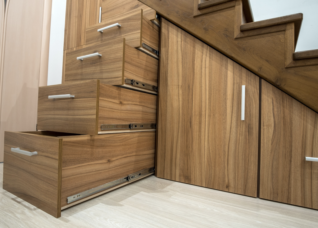 Cabinets under staircase