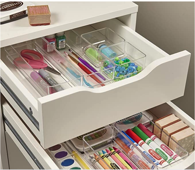 STORi Clear Plastic Vanity and Desk Drawer Organizers