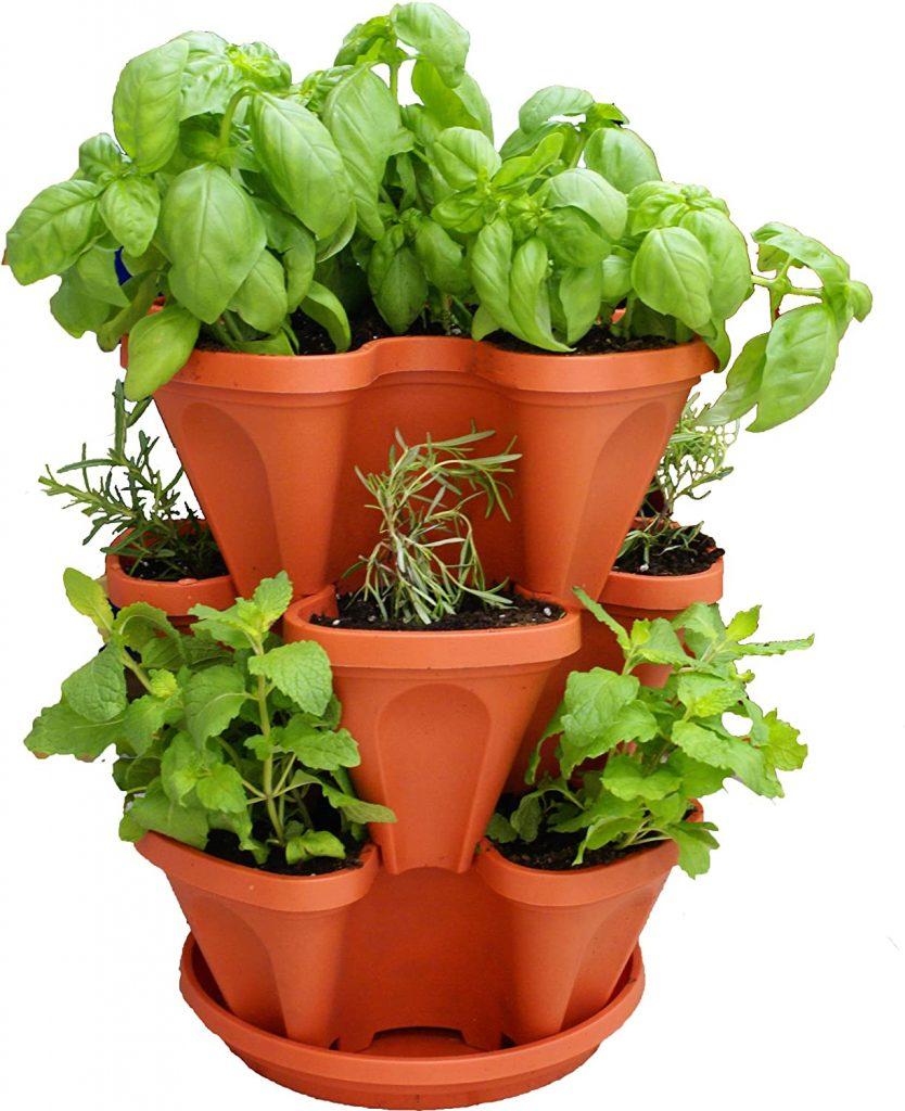 Three-Tiered Stackable Indoor Outdoor Vertical Herb Planter