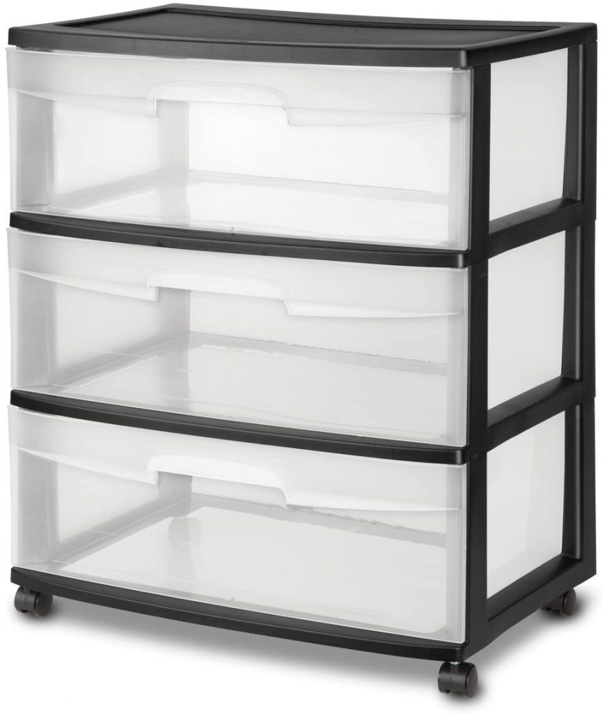 Wide 3 Drawer Cart With Wheels By STERILITE