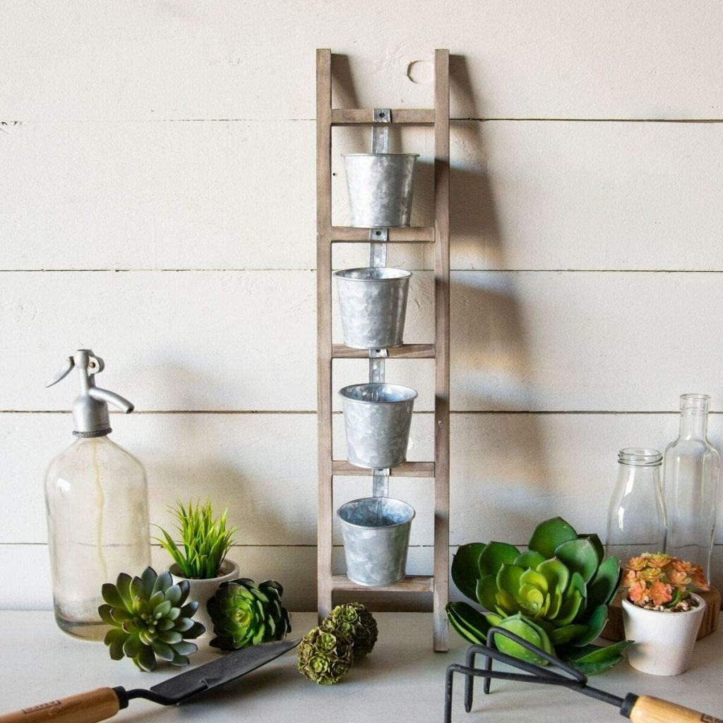 Wood Ladder Planter with Metal Pots